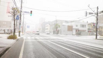 雪の札幌市内