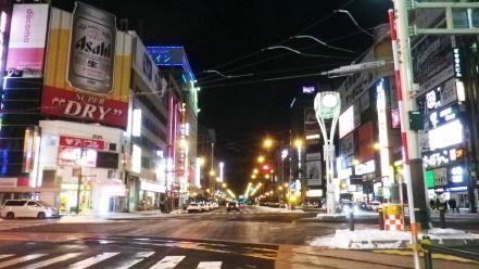深夜の札幌市街