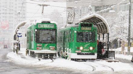 雪の日の札幌市電