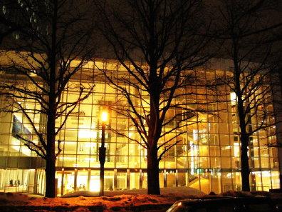 夜の日本生命札幌ビルとイチョウ並木
