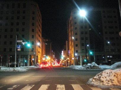 深夜2時の札幌市内