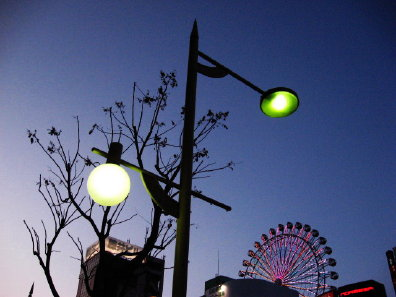 夕方の街灯